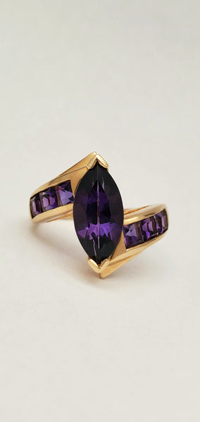 Contemporary 14K Marquis Amethyst Channel Set Ring