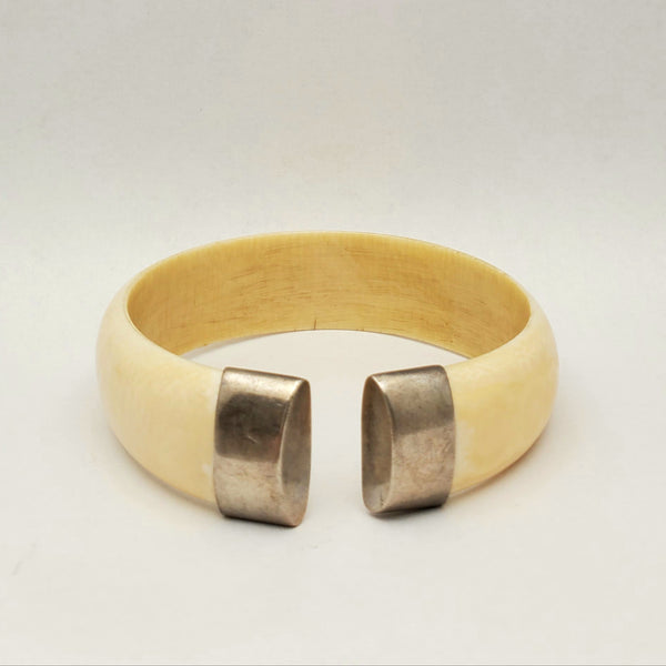 Antique Ivory and Sterling Cuff Bracelet