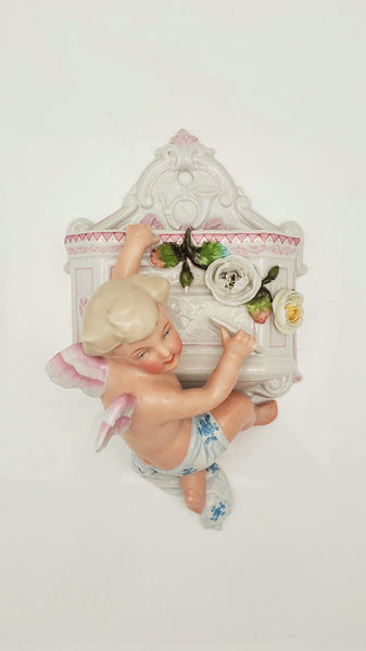 Antique Porcelain Angel Wall Pocket