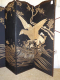 Antique Chinese Embroidered Four Panel Screen