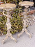 Antique Pair Italian Figural Hand Carved Wood Fern Stands