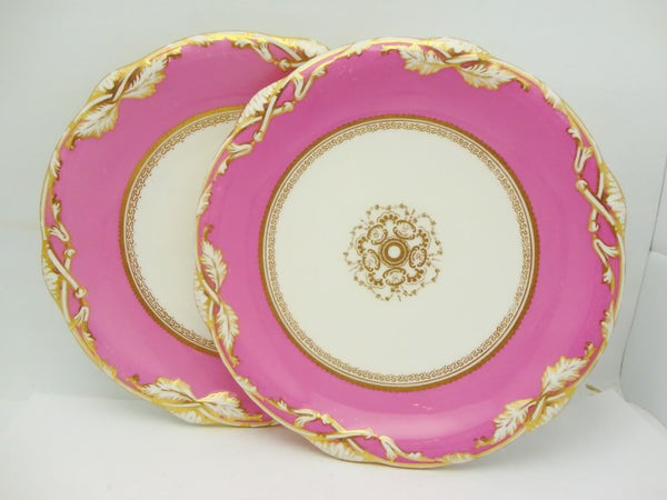 Pair of Antique Pink English Derby Plates