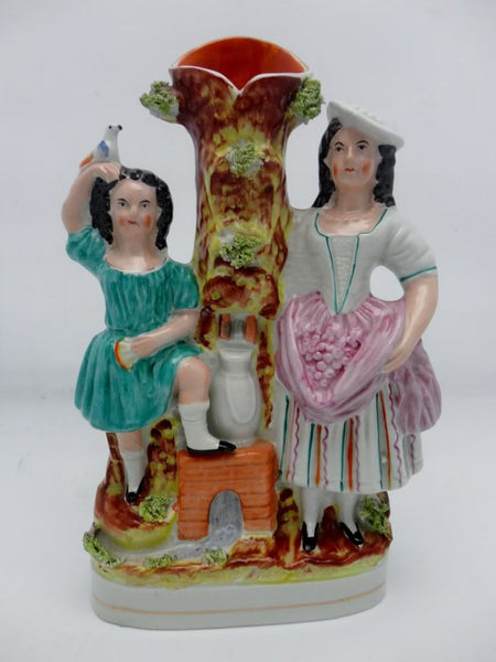 Antique Staffordshire Girls At The Well Spill Vase