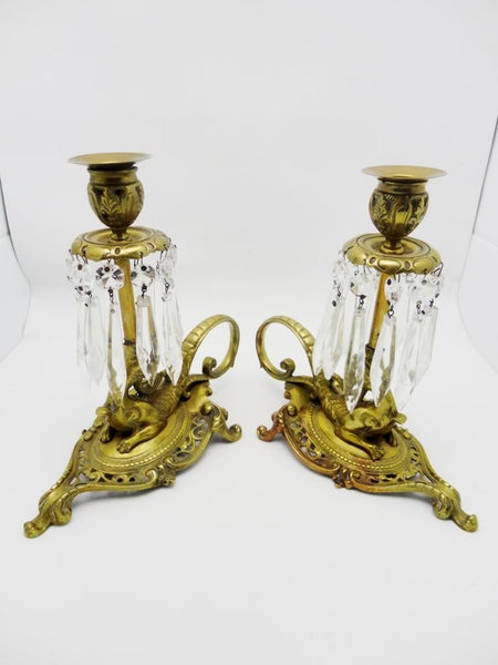 Pair Antique French Mythical Bronze Dragon Candlesticks Prisms