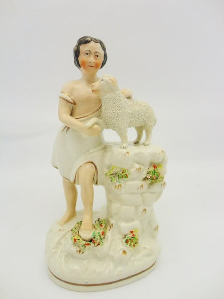 Antique Staffordshire Figure Boy With Lamb Sheep