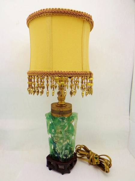 Antique Chinese Hand Carved Jade Lamp Rosewood Bronze