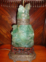 Antique Chinese Hand Carved Jade Lamp