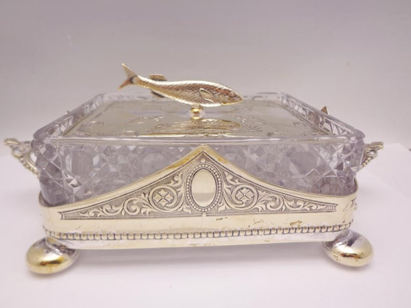 Antique English Crystal Silver Plate Sardine Dish