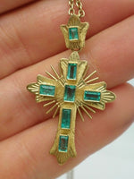 18K Antique Georgian Emerald Cross Necklace