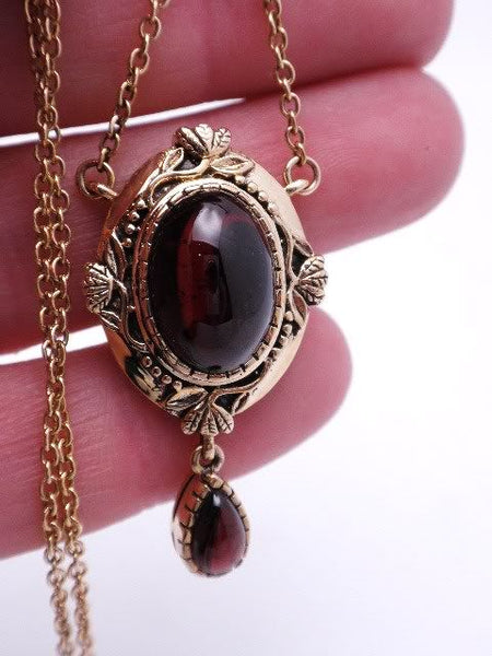 Cabochon Garnet Necklace 10K YG