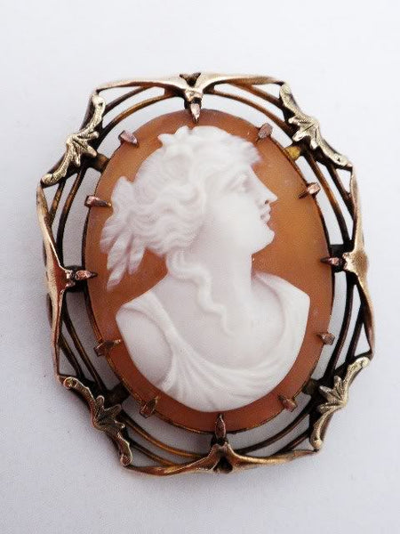 Antique Victorian Gold Filled Shell Cameo Brooch