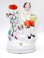 Antique Staffordshire Spill Vase Boy With Flowers