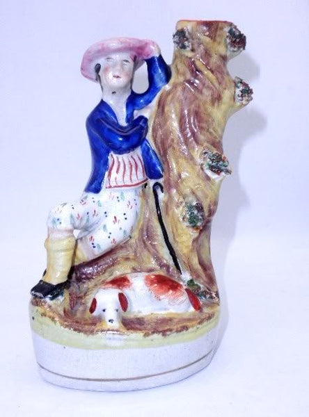 Antique Staffordshire Spill Vase Boy With Chinese Hat