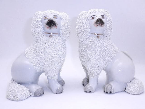 Antique Pair Staffordshire Poodles Open Leg AF