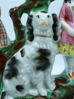 Antique Staffordshire Couple With Spaniel
