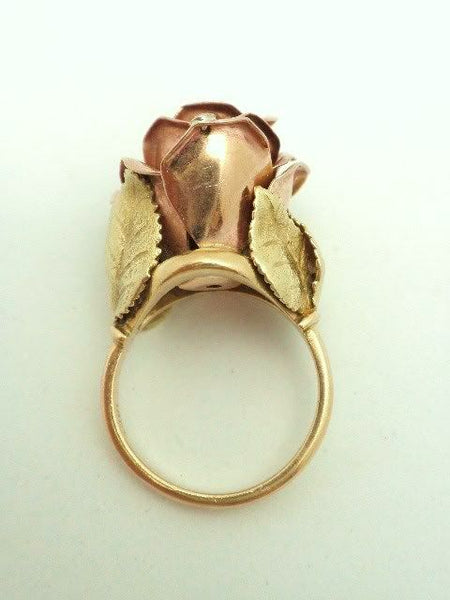 Antique 18K Rose Gold Rose Petal Dewdrop Ring