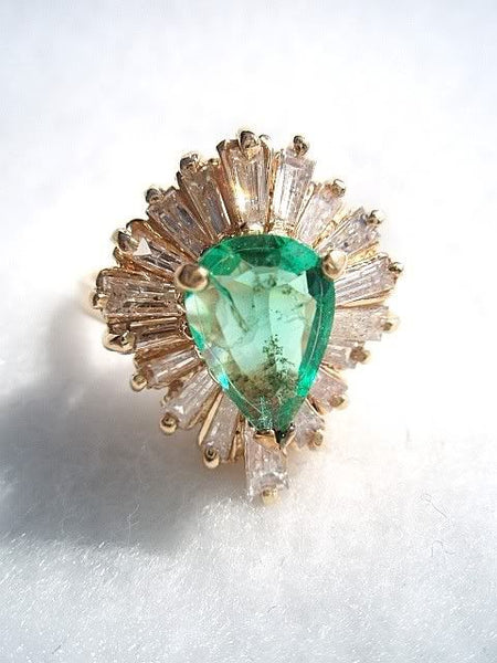 Emerald & Diamond Tapered Baguette Cocktail Ring