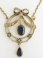 English Sapphire Diamond Pendant Necklace