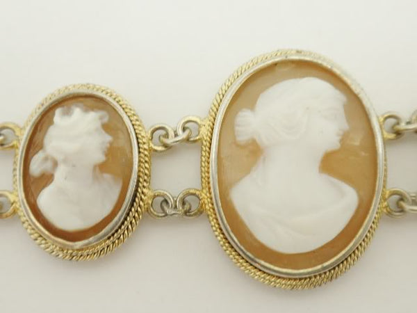Antique Cameo Sterling Silver Bracelet