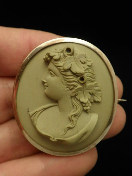 Antique Lava Cameo Gold Filled Frame