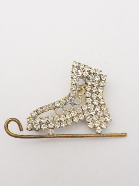 Vintage Czech Crystal Ice Skate Brooch Pin