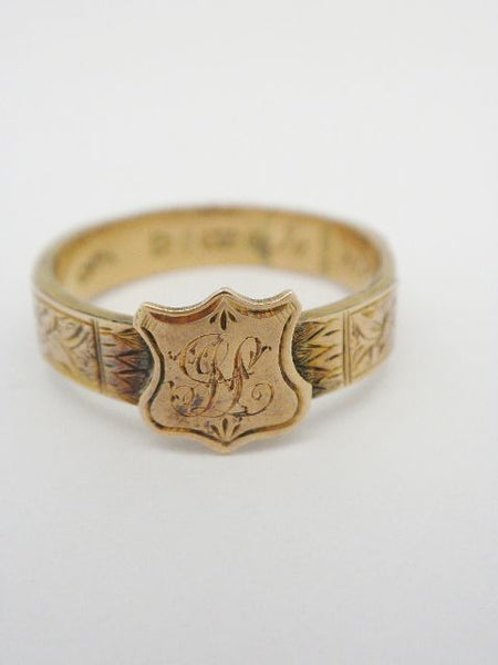 English 10K Mourning Hair Memory Ring Inscribed