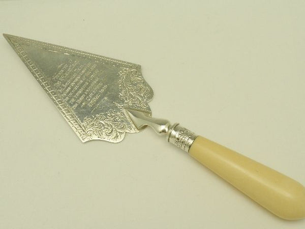 Victorian Sterling Silver Ivory Cake Server Hindu Orphanage 1906