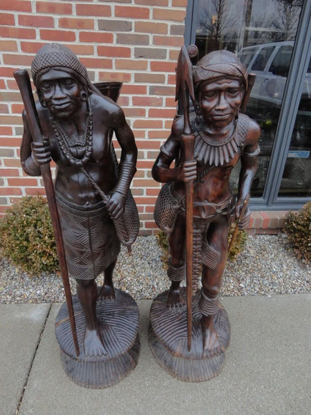 "Antique Pair Aeta Tribal Carved Wooden Figures 55"" Philliphines"