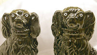 Victorian Antique Jackfield Enameled Comfort Dogs Spaniels