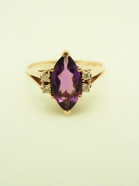 14k Amethyst Marquis Diamond Ring