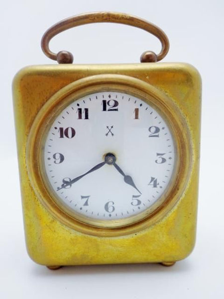 Antique Brass Miniature Clock