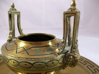 Antique French Bronze Enameled Inkwell