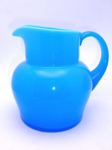 Huge Antique Blue Opaline Pitcher