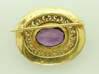 Antique 18K Amethyst & Emerald Brooch