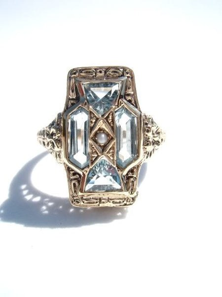 Art Deco Blue Topaz and Pearl Ring