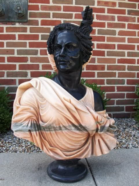 Hand Carved Marble African Blackamoor Female Bust
