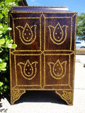 Studded Peruvian Mahogany Wood Chest
