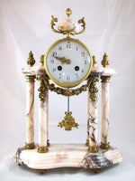 French Marble Ormolu Column Clock