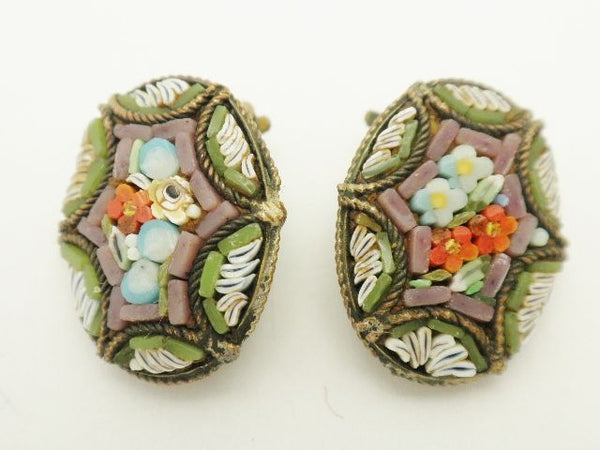 Antique Micro Mosaic Clip Earrings