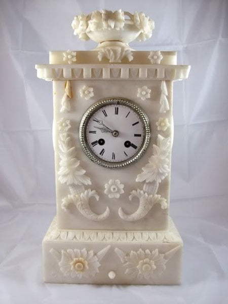 French Empire White Alabaster Clock