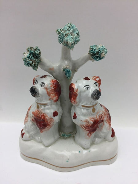 Antique Staffordshire Comfort Dogs Figure