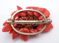Antique Red Coral Brooch Daisies