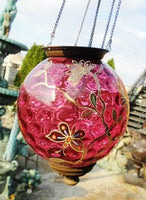Antique Enameled Cranberry Hanging Lantern