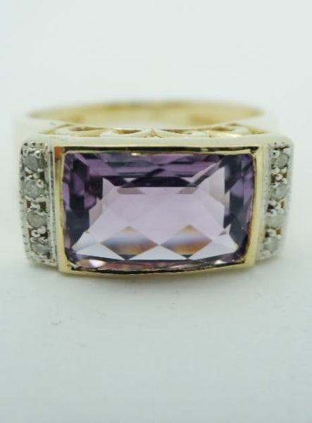 English 10k Amethyst Diamond Ring