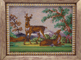Antique Victorian Micro Bead Work Picture Deer Landscape