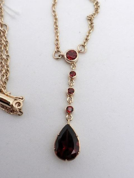 10k English Garnet Drop Necklace