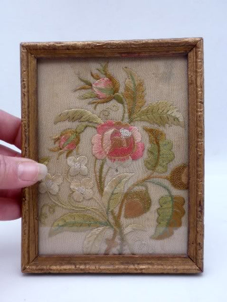 Antique Silk Floral Embroidery Framed