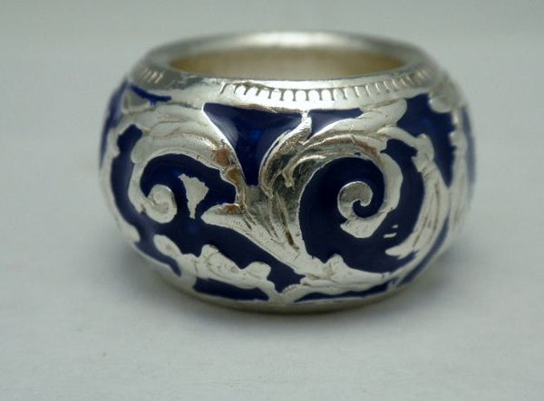 Sterling Enamel Designer Dome Band Ring