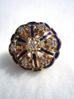 14k Antique Diamond & Enamel Ring