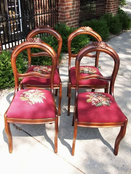 Victorian Antique Walnut Needlepoint Chairs